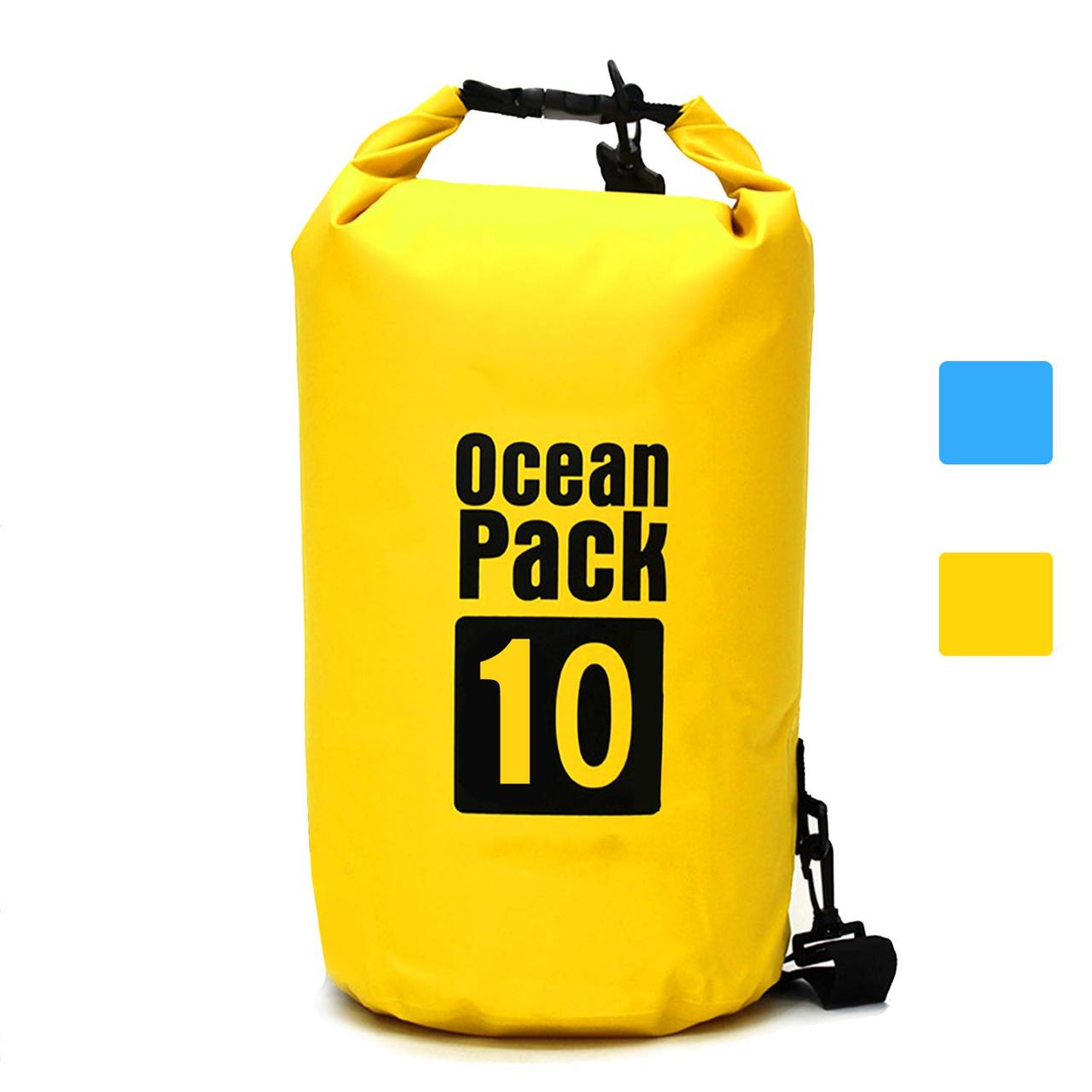 Водонепроницаемая сухая сумка-рюкзак 10 L для плавания на байдарках каякинг кемпинг желтая
