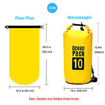 Водонепроницаемая сухая сумка-рюкзак 10 L для плавания на байдарках каякинг кемпинг желтая, фото 3