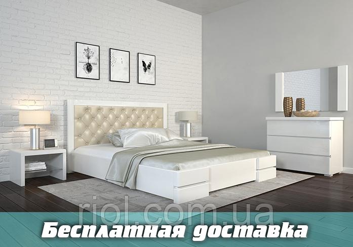 Кровать деревянная двуспальная Регина Люкс Ромб с подъемным механизмом