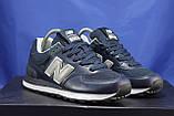 Кросівки сині натуральна шкіра і текстиль New Balance 574, фото 2