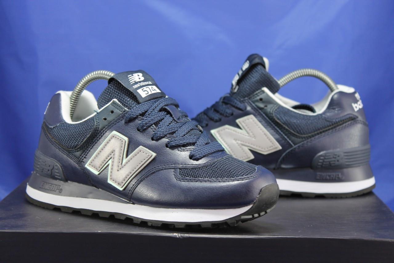 Кросівки сині натуральна шкіра і текстиль New Balance 574