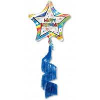 Шар фольгированныйХодячая фигура звезда Happy birthday