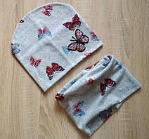 Серый демисезонный комплект шапка и снуд с бабочками для девочки 6-10 лет