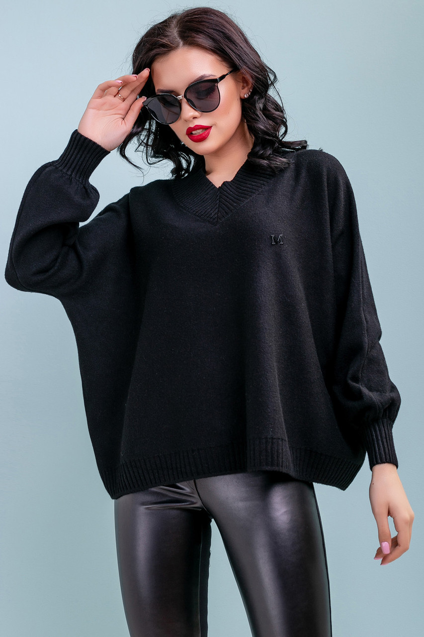 Яркий пуловер оверсайз плотной вязки 1428 (42–50р) черный