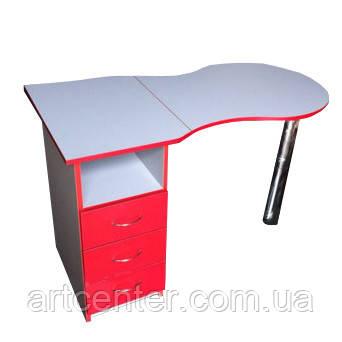 Маникюрный стол Эконом с выдвижными ящиками красно-белых цветов, складной