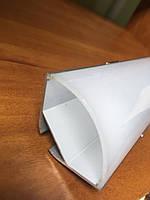 Угловой алюминиевый led профиль ЛСУ-30 с круглой линзой + линза рассеиватель, фото 1