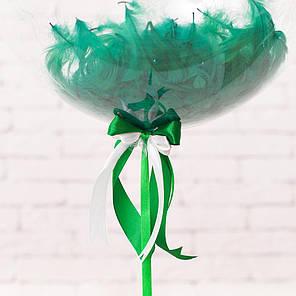 """Прозрачный гелиевый шарик с перьями и надписью """"Welcome Homе"""", фото 2"""