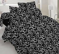 Семейное постельное белье бязь gold - Белый вензель на черном