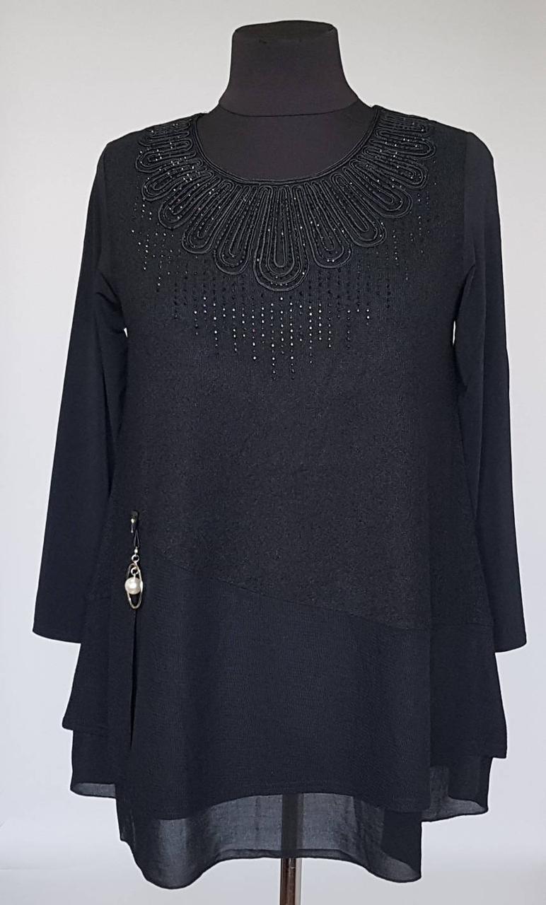 Туника женская черного цвета трапецевидной формы