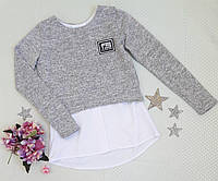 Рубашка-обманка на девочку, размер 128-164, серый, фото 1