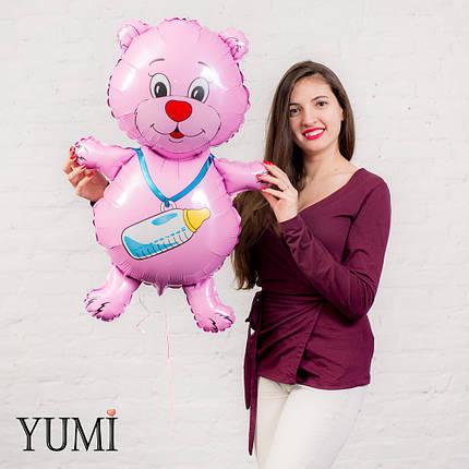 Воздушный шарик мишка с соской розовой, фото 2