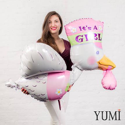 Шар с гелием Аист летящий розовый, фото 2