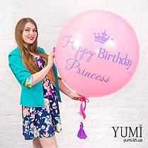 Нежный гелиевый шар-гигант розового цвета с надписью и с гирляндой для девочки, фото 2