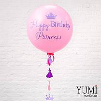 Нежный гелиевый шар-гигант розового цвета с надписью и с гирляндой для девочки, фото 3