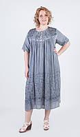 Легка літня сукня вільного крою сірого кольору з зав'язкою ззаду та вишивкою №214-2