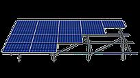 4 рядная одностоечная система для 108 солнечных панелей с изменяемым уголом