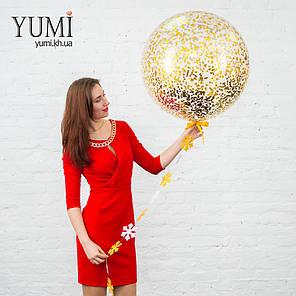 Гелиевый шар-гигант на Новый Год с конфетти и гирляндой, фото 2