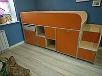 """Кровать чердак """"Геометрия"""" оранжевый+молочный дуб"""
