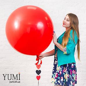 """Стильный гелиевый шар-гигант красного цвета с гирляндой """"Сердечки"""", фото 2"""