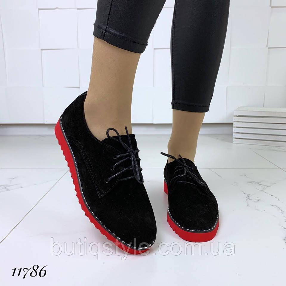 Женские туфли черные на яркой подошве натуральная замша на низком ходу