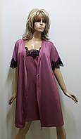 Комплект халат и ночная рубашка из микромасла 421, фото 1