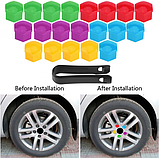 Комплект защитных колпачков на колесные гайки с ключом 17 мм разноцветные, фото 4