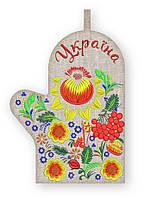 APV1 Прихватка варежка, сувенир с вышивкой аппликацией, хлопок