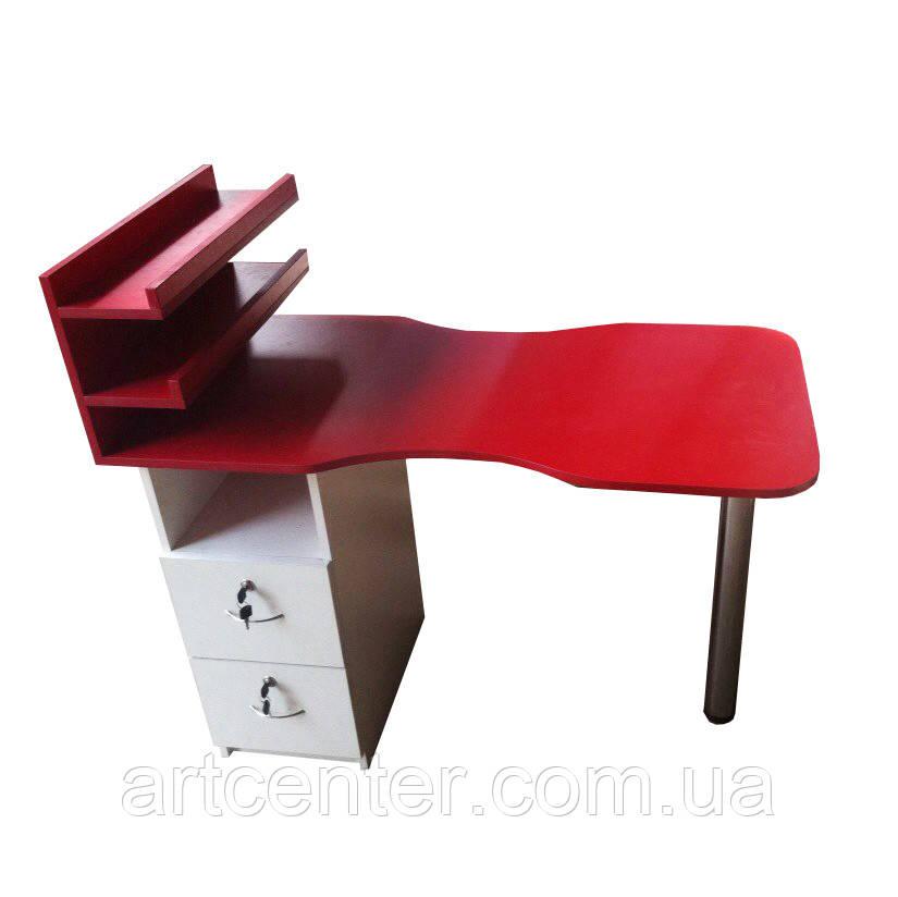 Стол для маникюра в салон красоты, с двумя выдвижными ящиками, полочкой для лаков с бортиками
