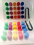 Комплект защитных колпачков на колесные гайки с ключом 17 мм разноцветные, фото 3
