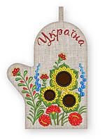 APV 71 Прихватка варежка, сувенир с вышивкой аппликацией, натуральный лен, хлопок