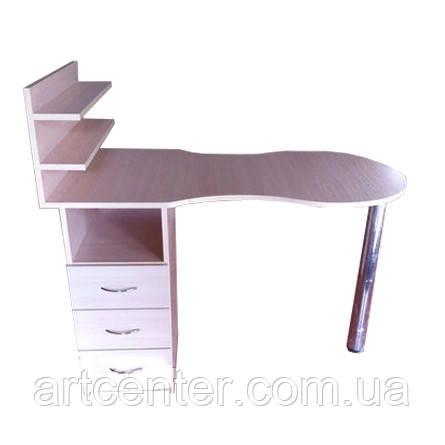 Маникюрный стол  с полочками молочный дуб, складная столешница на хромированной ножке