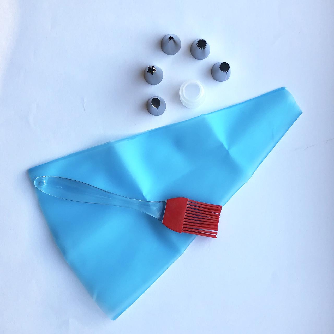 Cиликоновый кондитерский мешок с насадками (5 шт) + кисточка