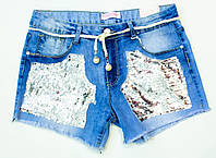 Милые джинсовые шорты на девочку на 8.10.12.14.16 лет