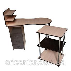 Маникюрный стол  однотумбовый, с выдвижными ящиками, полочкой для лаков