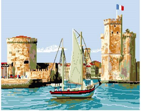 Картина по номерам Парусник у старого города, 40x50 см., Brushme