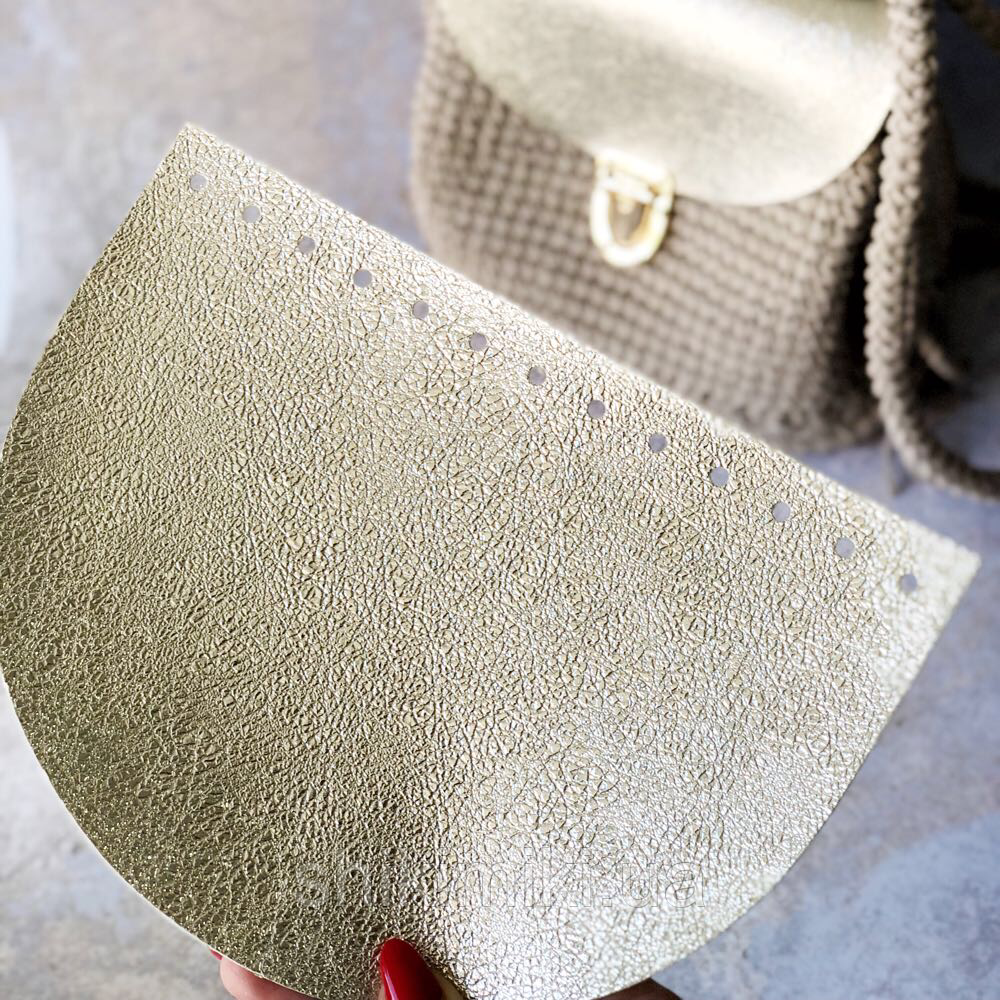 Крышка для сумки полукруглая из эко-кожи,брызги шампанского