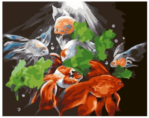 Картина по номерам Таинственные рыбы, 40x50 см., Brushme