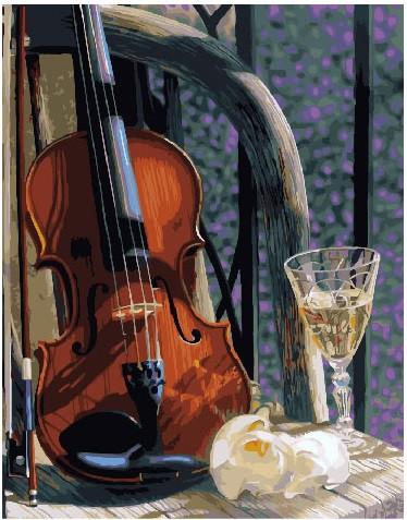 Картина по номерам Скрипка с вином, 40x50 см., Brushme