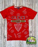 Красная стильная детская футболка Gucci