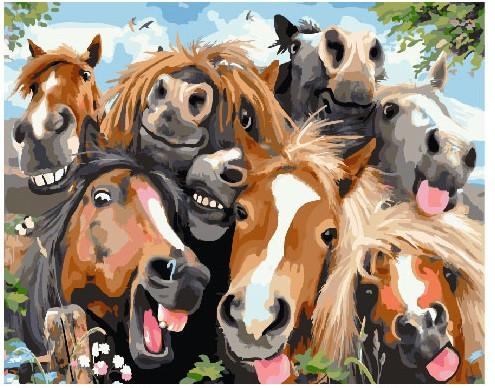 Картина по номерам Веселые лошади, 40x50 см., Brushme