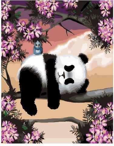 Картина по номерам Сонливая панда, 40x50 см., Brushme