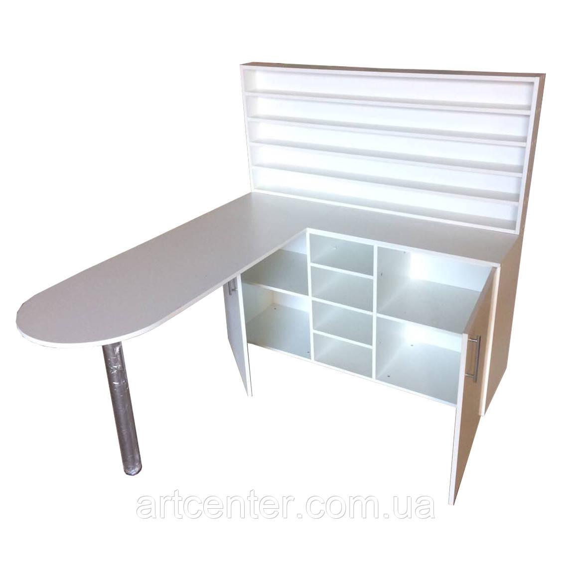 Стіл для манікюру професійний зі стелажем, закритими і відкритими поличками,