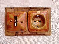 Фарфоровый ретро выключатель поворотный, 1-клавишный, проходной для скрытого монтажа, Медь
