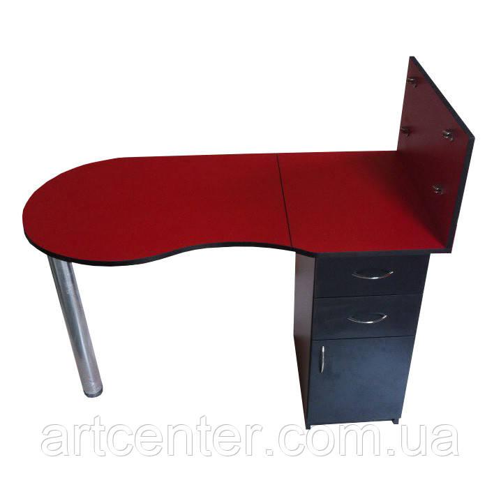 Маникюрный стол  с полочками  красный  с выдвижными ящиками и закрытой полочкой