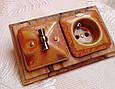 Порцеляновий ретро вимикач поворотний 2-клавішний, для прихованого монтажу Мідь, фото 2