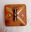 Порцеляновий ретро вимикач поворотний 2-клавішний, для прихованого монтажу Мідь, фото 3