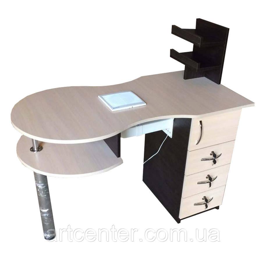 Стол маникюрный с двойной столешнице и выдвижными ящиками