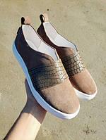 Качественные слипоны мокасины кеды для девочки подростка бежевые размер 32-41 детская кожаная обувь