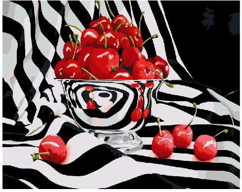 Картина по номерам Вишни в чернобелом, 40x50 см., Brushme