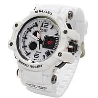 ➤Часы Smael 1509 White стальной нержавеющий корпус многофункциональные электронные часы мужские спортивные